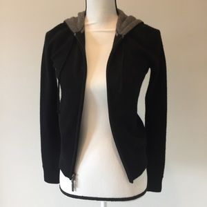 Vince cashmere hoodie black with grey inside hood